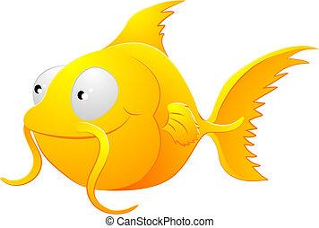 złota rybka, clipart, ilustracja