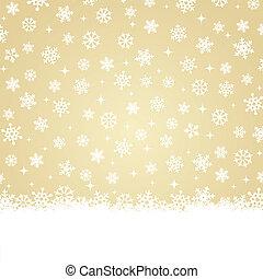 złoty, -, śnieg, backg, kartka na boże narodzenie
