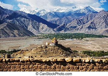 złoty, śnieg, moun, dach, klasztor