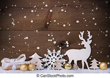 złoty, śnieg, ozdoba, boże narodzenie, renifer, płatek śniegu