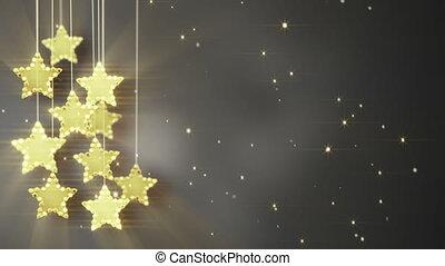 złoty, światła, boże narodzenie, gwiazdy, wisząc