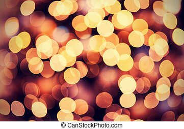 złoty, światła, bokeh, tło, boże narodzenie, czerwony