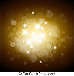 złoty, światła, tło, biały