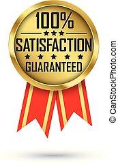 złoty, 100%, guaranteed, ilustracja, uiszczenie, wektor, etykieta