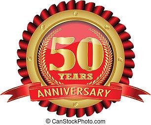 złoty, 50, lata, rocznica, etykieta