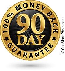 złoty, 90, wektor, gwarantować, 100%, wstecz, znak, dzień, ...