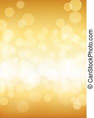 złoty, abstrakcyjny, light., bokeh, wektor, skutki, tło