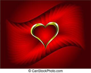 złoty, abstrakcyjny, list miłosny, tło, serca, czerwony