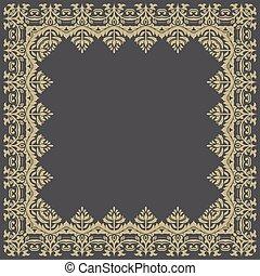 złoty, abstrakcyjny, pattern., wektor, kwiatowy, ułożyć