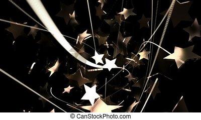 złoty, abstrakcyjny, przelotny, gwiazdy