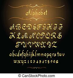 złoty, alfabet