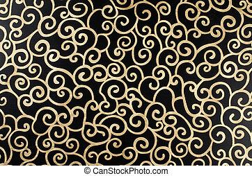 złoty, arabeska, abstrakcyjny
