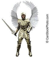 złoty, archanioł, michael, zbroja