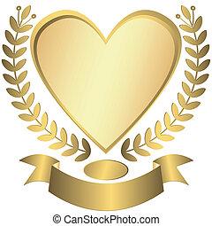 złoty, award-heart, wstążka, (vector)