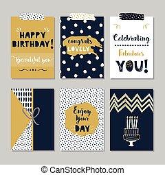 złoty, błękitny, szczęśliwe urodziny, karta, komplet