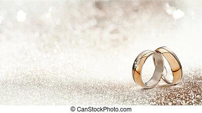 złoty, bandy, ślub, dwa, textured, blask