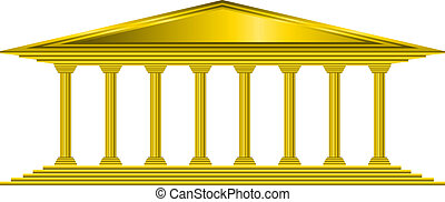 złoty, bank, ikona