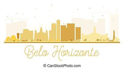 złoty, belo, miasto, silhouette., sylwetka na tle nieba, ...