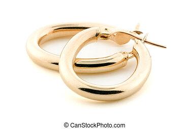 złoty, biżuteria, -, earrings