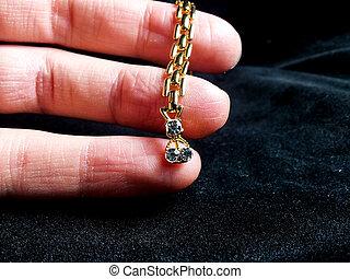 złoty, biżuteria, z, dzwonek