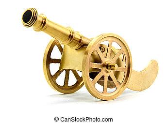 złoty, biały, kanon, odizolowany