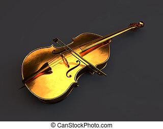 złoty, biały, odizolowany, wiolonczela