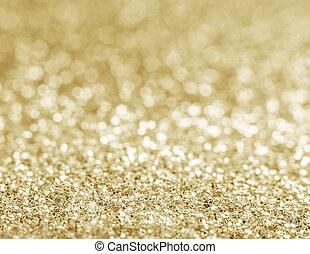 złoty, blask, defocused, tło