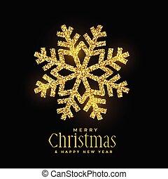złoty, blask, płatki śniegu, tło, boże narodzenie