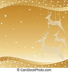 złoty, boże narodzenie, jeleń, powitanie karta