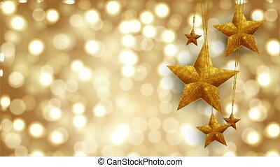 złoty, bokeh, tło, gwiazdy