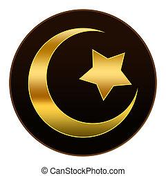 złoty, brązowy, ciemny, islam, symbol