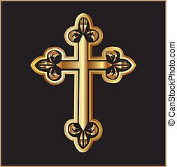 złoty, chrześcijaństwo, krzyż, wektor