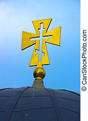 złoty, chrześcijanin, krzyż, na, niejaki, tło, od, błękitne niebo