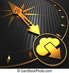 złoty, czarna chmura, compass., ikona