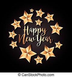 złoty, decoraton, gwiazda, czarnoskóry, luksus, tło, rok, nowy, szczęśliwy