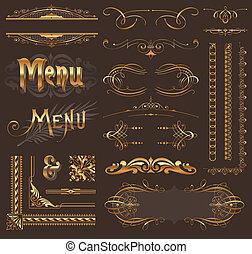 złoty, dekoracje, elementy, &, projektować, ozdobny, strona