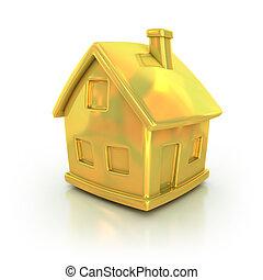 złoty, dom, 3d, ikona