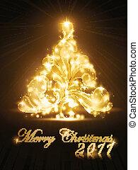 złoty, drzewo, iskierki, 2011, kartka na boże narodzenie, ogień