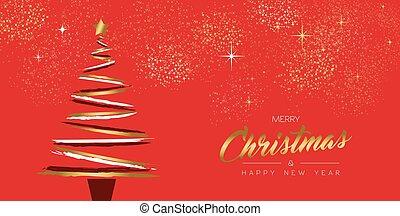 złoty, drzewo, nowy, ręka, rok, pociągnięty, kartka na boże narodzenie