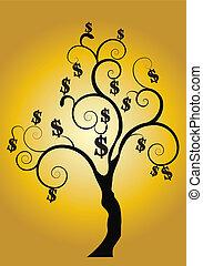 złoty, drzewo pieniędzy