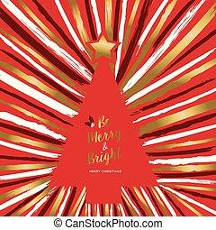 złoty, drzewo, powitanie, ręka, wesoły, pociągnięty, kartka na boże narodzenie