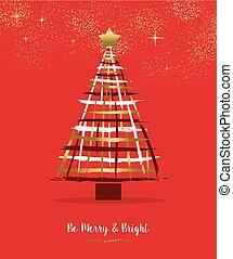 złoty, drzewo, sosna, ręka, wesoły, pociągnięty, kartka na boże narodzenie