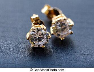 złoty, earrings, z, dzwonek