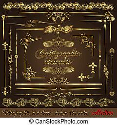 złoty, elementy, vol2, calligraphic, projektować