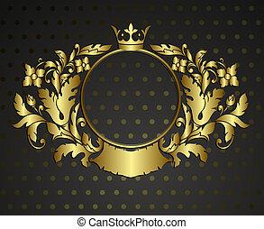 złoty, emblemat, cartouche., wektor, rocznik wina, brzeg,...