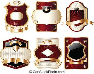 złoty, etykieta, fantazja, komplet
