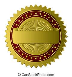 złoty, etykieta, (vector)