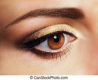 złoty, eyeshadow, oko, babski, do góry, mascara., zamknięcie