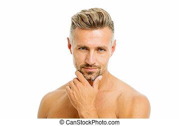 złoty, fason, dobrze, shaving., wygodny, zamknięcie, do góry., jaźń, obrządził konia, hipster, szczecina, człowiek, golenie, brodaty, fryzjer, reguły, fryzjer, przystojny, beauty., wygląd, przygotowanie, care., samiec