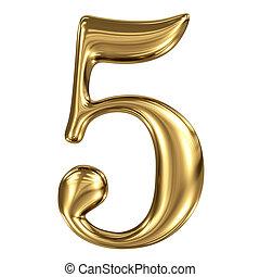złoty, figura, symbol, odizolowany, metaliczny, 5, biały,...